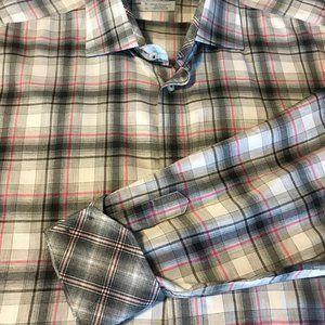 Thomas Dean Casual Long Slv Shirt Black Gray Pink